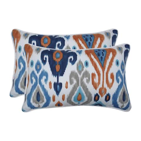 Pillow Perfect Outdoor / Indoor Paso Azure Blue Rectangular Throw Pillow (Set of 2)