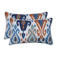 Pillow Perfect Outdoor / Indoor Paso Azure Blue Rectangular Throw Pillow (Set of 2)