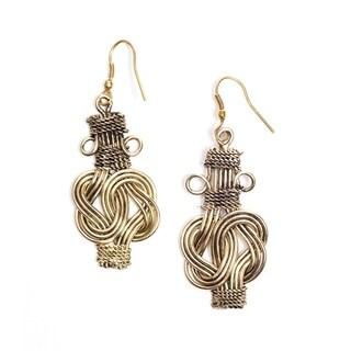 Handmade Buddha Knot Earrings- Gold (India)