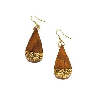 Handmade Earth and Fire Earrings - Teardrop (India)
