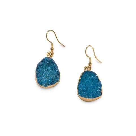 Handmade Rishima Druzy Drop Earrings - Light Blue (India)