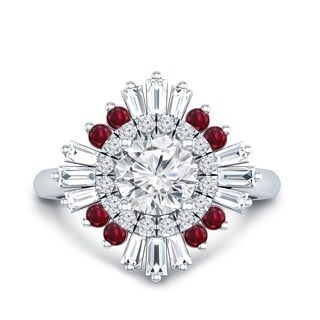 Auriya 14k Gold Vintage Ballerina Certified 1 1/3ct TDW Diamond and 1/6ct Red Ruby Halo Engagement Ring
