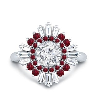 Auriya 14k Gold Vintage Ballerina 1 1/5ct TDW Certified Diamond and 5/8ct Red Ruby Halo Engagement Ring