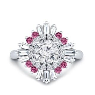 Auriya 14k Gold Vintage Ballerina Certified 1 3/8ct TDW Diamond and 1/6ct Pink Sapphire Halo Engagement Ring