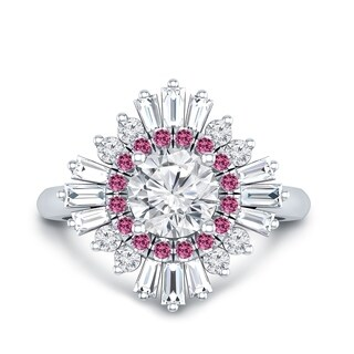 Auriya 14k Gold Vintage Ballerina 1/6ct Pink Sapphire and Certified 1 1/3ct TDW Baguette Halo Diamond Engagement Ring