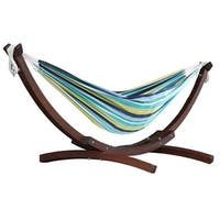 Double Cotton Hammock with Solid Pine Arc Stand  - Cayo Reef (8ft)  (FSC Certified)