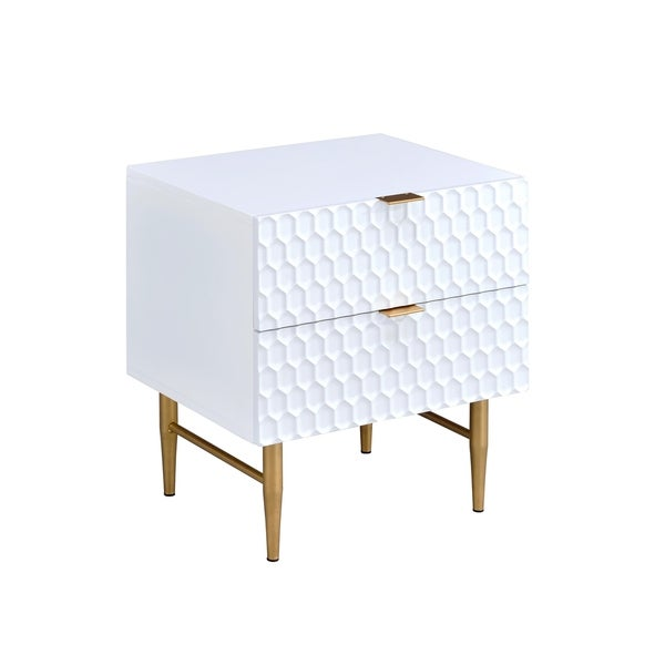 Urban Designs Glam Collection 2 Drawer Nightstand White Gold