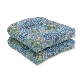 Pillow Perfect Outdoor / Indoor Make It Rain Cerulean Blue Wicker Seat Cushion (Set of 2)