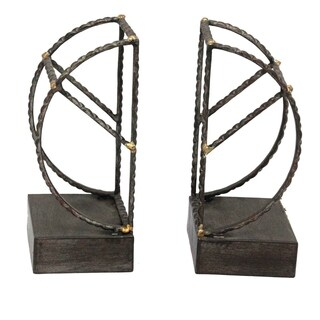 Sagebrook Home S/2 METAL BOOKENDS, AGED BLACK