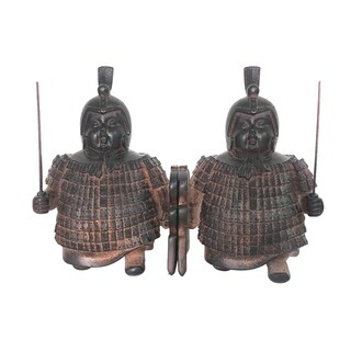 Sagebrook Home POLYRESIN SOLDIER BOOKENDS, ANT BROWN