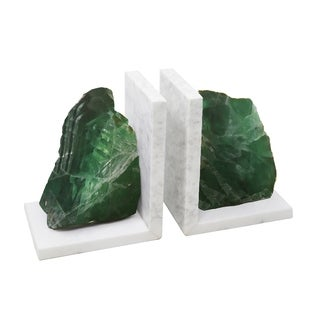 Sagebrook Home S/2 MARBLE BOOKENDS W/ AGATE, GREEN