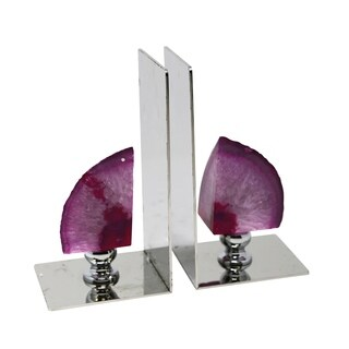 Sagebrook Home S/2 METAL/AGATE BOOKENDS, PURPLE