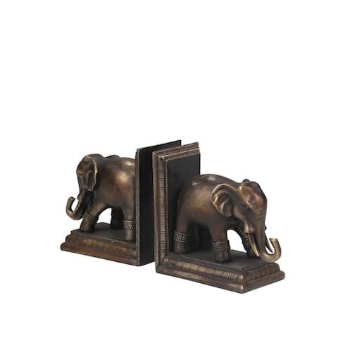 Sagebrook Home S/2 ELEPHANT BOOKENDS, ANTIQUE BLACK