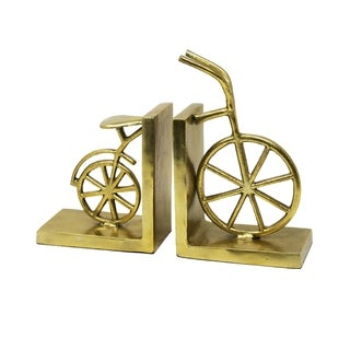 Sagebrook Home METAL BICYCLE BOOKENDS, GOLD