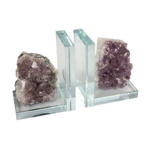 Sagebrook Home S/2 GLASS & AMETHYST BOOKENDS, PURPLE