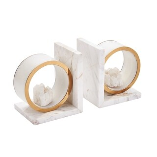 Sagebrook Home S/2 MARBLE BOOKENDS W/ AGATE, WHITE