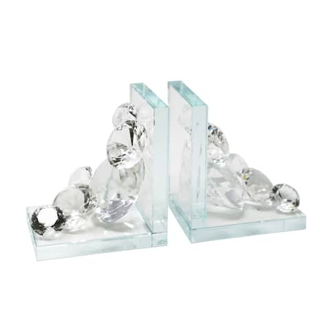 Sagebrook Home S/2 CRYSTAL DIAMOND BOOKENDS, CLEAR
