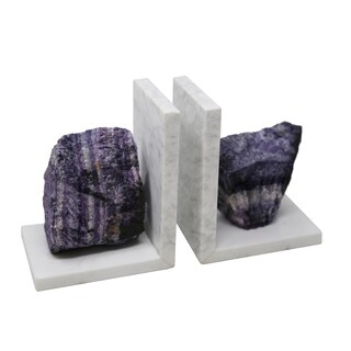 Sagebrook Home S/2 MARBLE BOOKENDS W/ AGATE, PURPLE