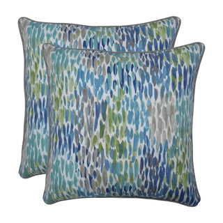 Pillow Perfect Outdoor / Indoor Make It Rain Cerulean Blue 18.5-inch Throw Pillow (Set of 2)