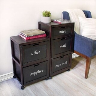 Carbon Loft Zuse Black Filing Cabinet 3 Crated Drawer with Front Chalkboard