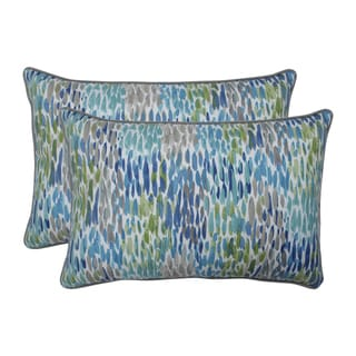 Pillow Perfect Outdoor / Indoor Make It Rain Cerulean Blue Over-sized Rectangular Throw Pillow (Set of 2)