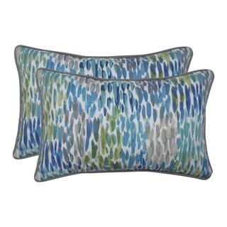 Pillow Perfect Outdoor / Indoor Make It Rain Cerulean Blue Rectangular Throw Pillow (Set of 2)