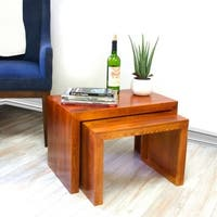 Brodie 2pc Pine Wood Console Table Set