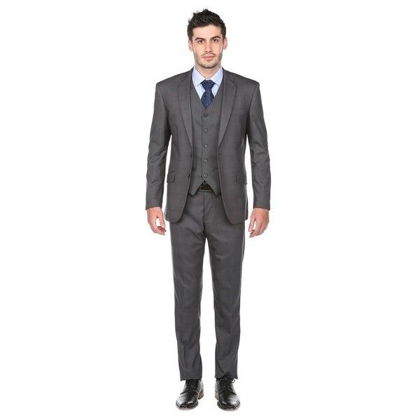 Gino Vitale Men's Modern Fit Glen Check 3 Piece Suits