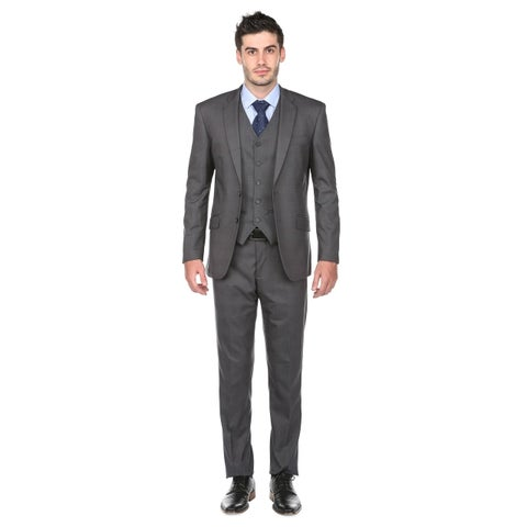 Gino Vitale Men's Modern Fit Glen Check 3 Piece Suits
