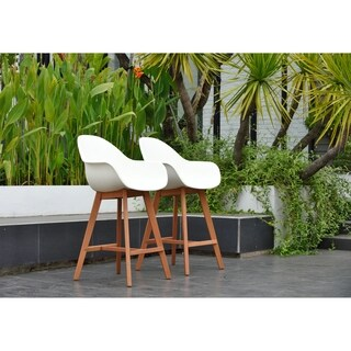 Hawaii Patio Bar Stool (Set of 2), Dark Eucalyptus Wood