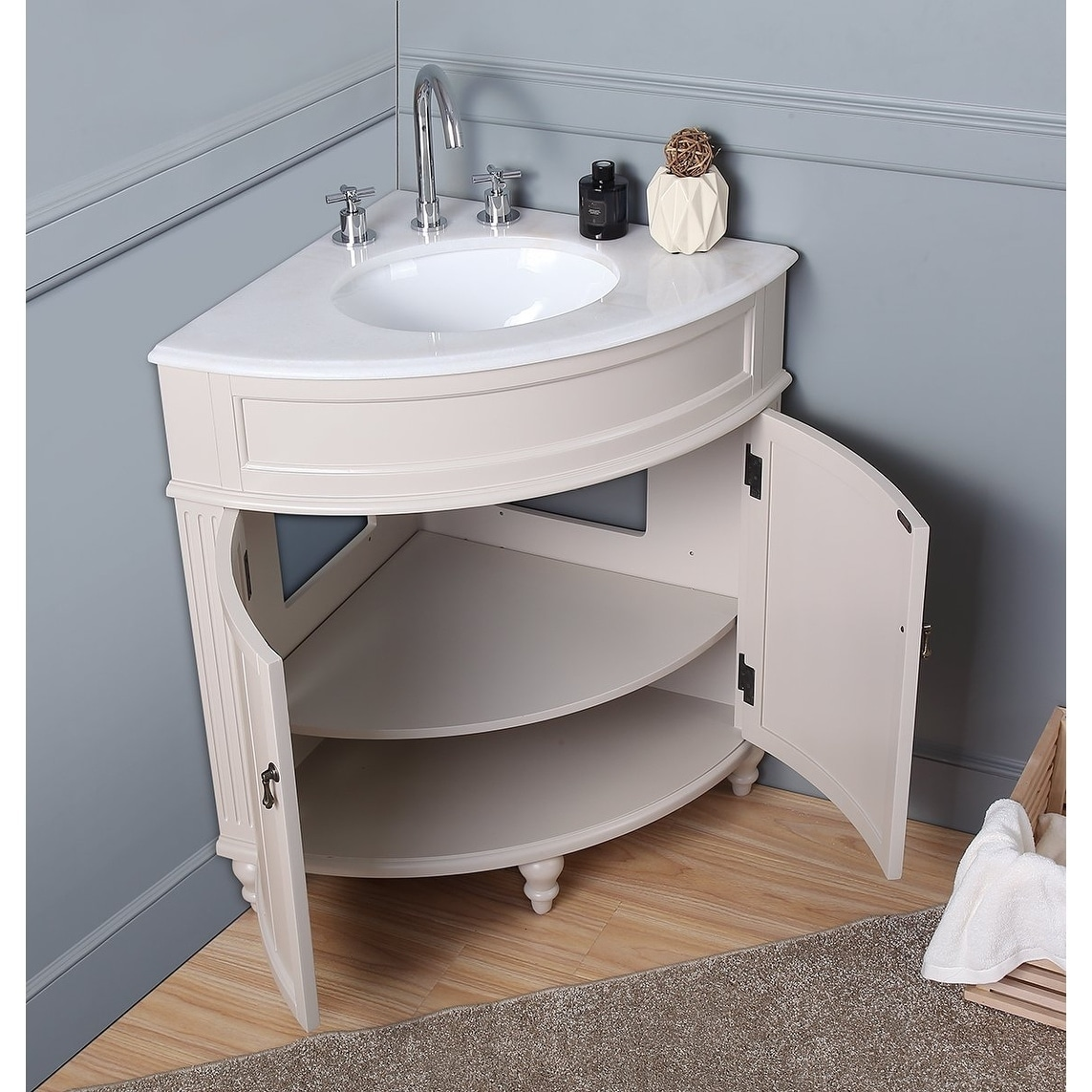Picture of: Shop Black Friday Deals On 24 Benton Collection Thomasville Slim Corner Bathroom Sink Vanity Overstock 20687898