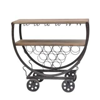 Brown Fur Wood Wine Rack Cart