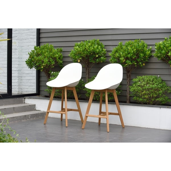 Hawaii Patio Bar Sidestool Set Of 2 Light Teak Finish On Free Shipping Today 20687904