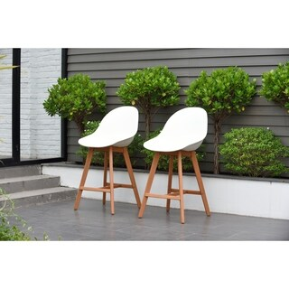 Hawaii Patio Bar Sidestool (Set of 2), Dark Eucalyptus Wood