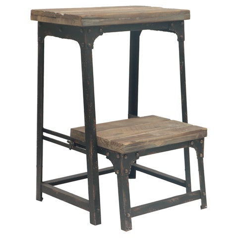 Industrial Grey Metal and Wood Step Stool