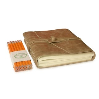 Premium Scuff - Resistant Distressed Leather Journal (5x7) in Chic Taupe Color with #2 Pencils