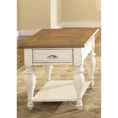 The Gray Barn Julia Bisque and Natural Pine Rectangular End Table