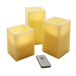 Porch & Den Maybelle Battery Operated LED Wax Square Candles (Set of 3)