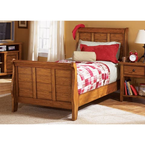 Copper Grove Epper Aged Oak Youth Sleigh Bed