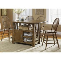 The Gray Barn Graig Road Weathered Oak Brown Center Island Gathering Table