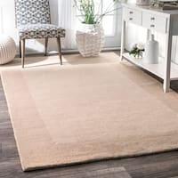 nuLOOM Handmade Solid Border Wool Rug (7'6 x 9'6)