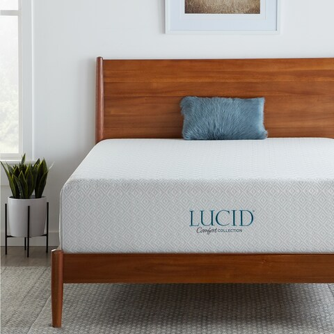 LUCID Comfort Collection 14-inch Plush Queen-size Gel Memory Foam Mattress