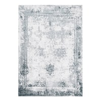 Maison Rouge Mansur Handmade Distressed Abstract Vintage Blue Area Rug - 5' x 8'