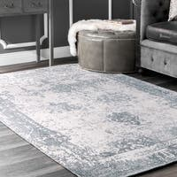 Maison Rouge Mansur Handmade Distressed Abstract Vintage Wool Blue Area Rug - 7' 6 x 9' 6