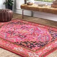 "The Curated Nomad Marcela Flower Medallion Pink Area Rug - 7'10"" x 11'"