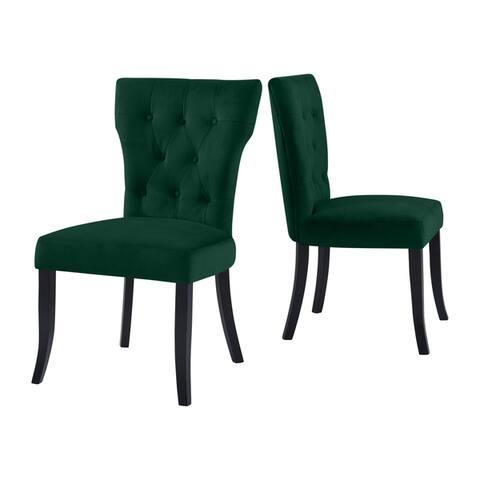 Copper Grove Lagunas Velvet Upholstered Armless Dining Chairs (Set of 2)