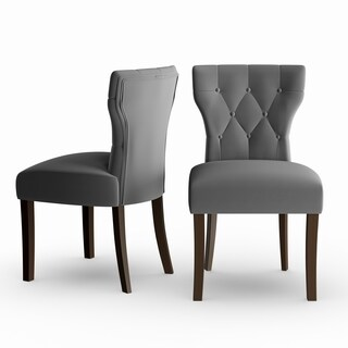 Copper Grove Lagunas Grey Velvet Upholstered Armless Dining Chairs (Set of 2)