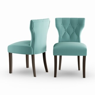 Gracewood Hollow Hurston Deep Turquoise Blue Velvet Upholstered Armless Dining Chairs (Set of 2)