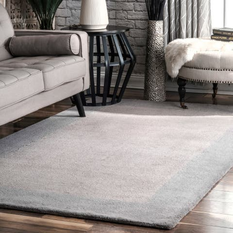 nuLOOM Geometric Handmade Solid Border Wool Rug