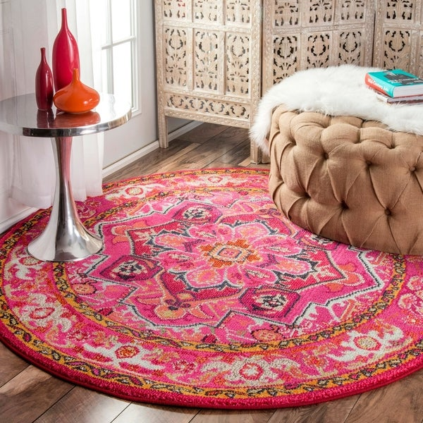 """The Curated Nomad Marcela Flower Medallion Pink Area Rug - 5'3"""" round"""